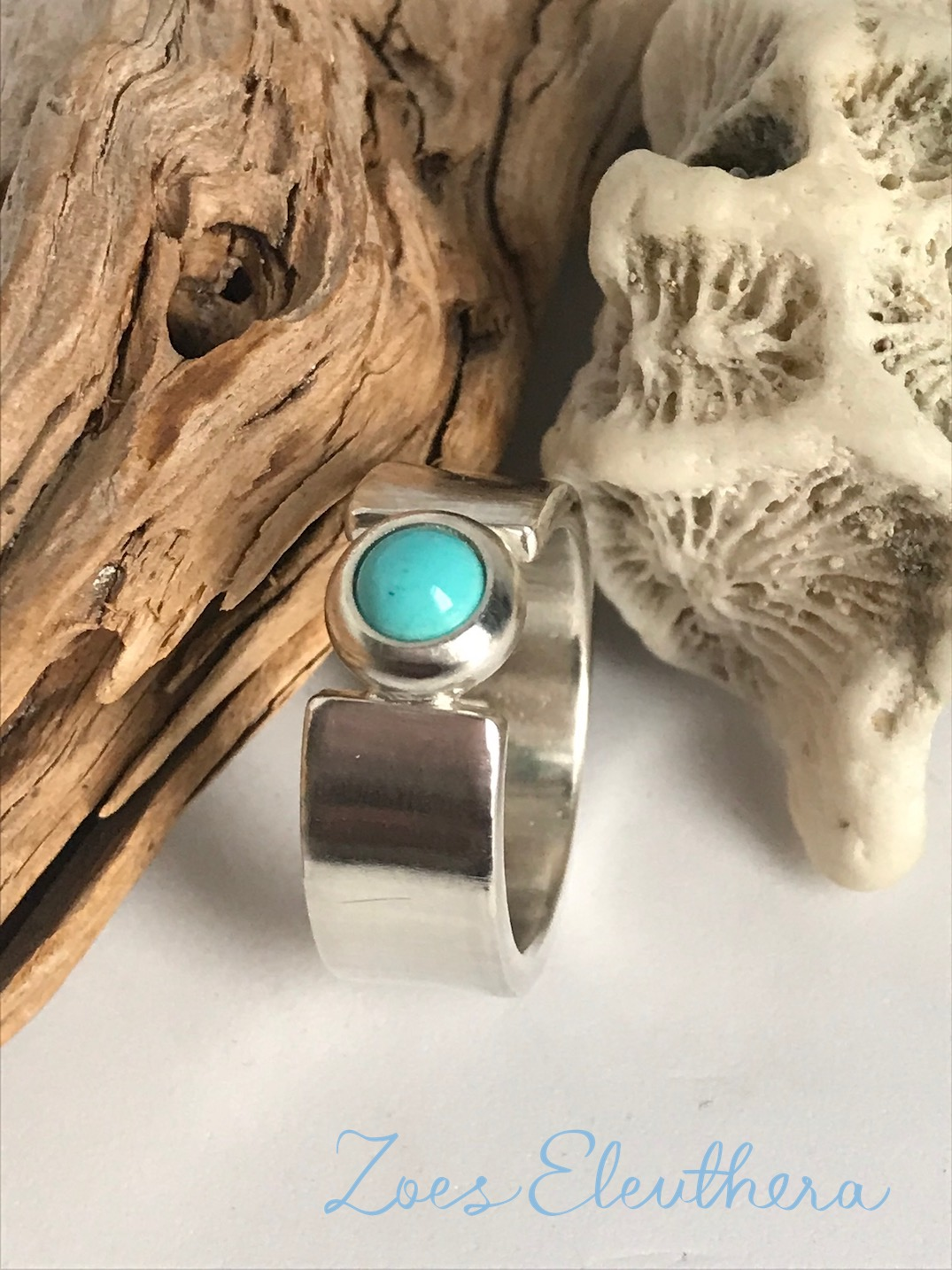 ring silver gemstone delicate turquoise