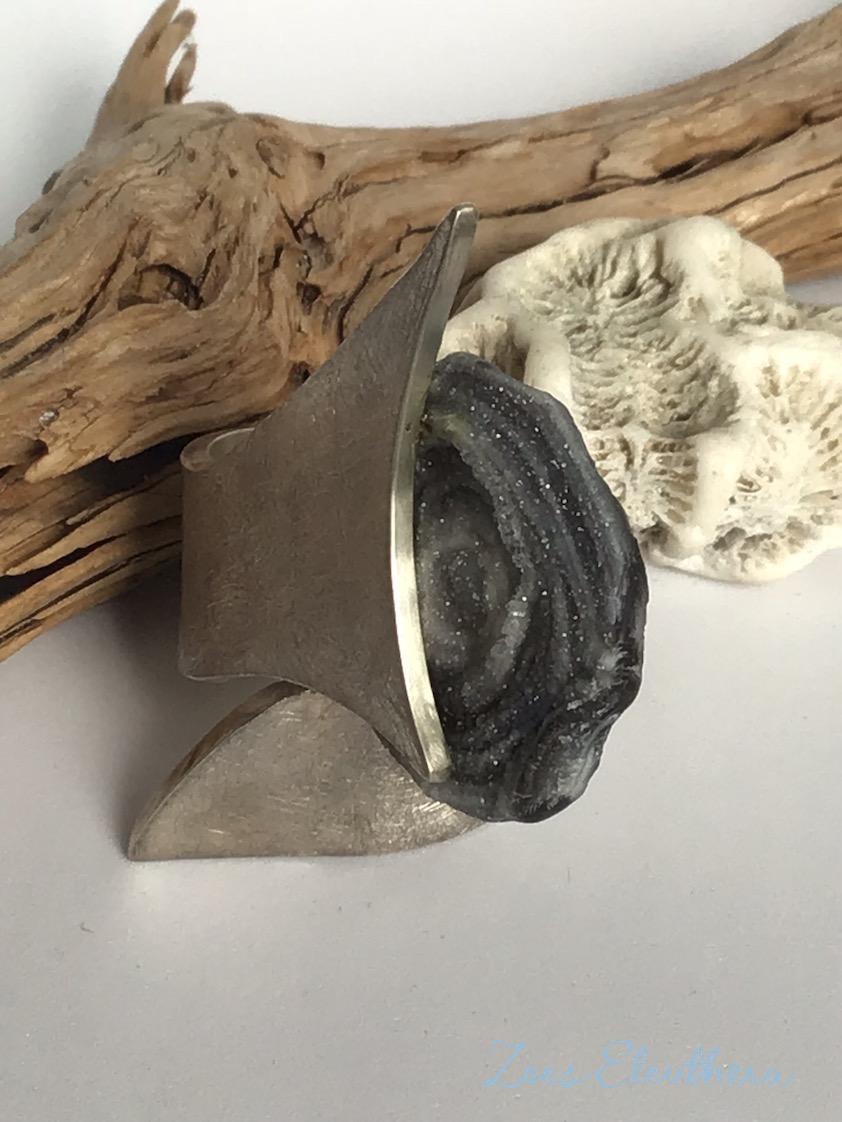 Ring Silber Hai Shark Haiflosse RingnoRing RnR massiv strichmatt breit