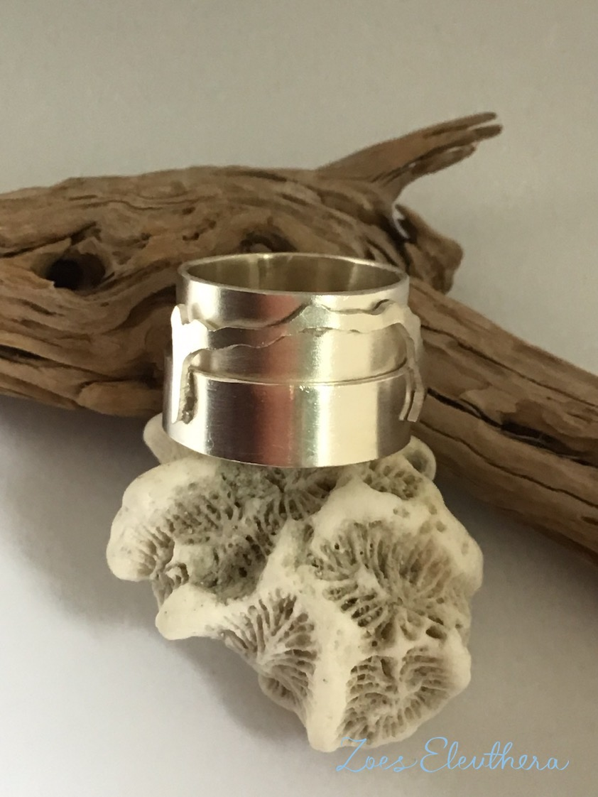 Ring Silber Insel breit Motiv individuell breit