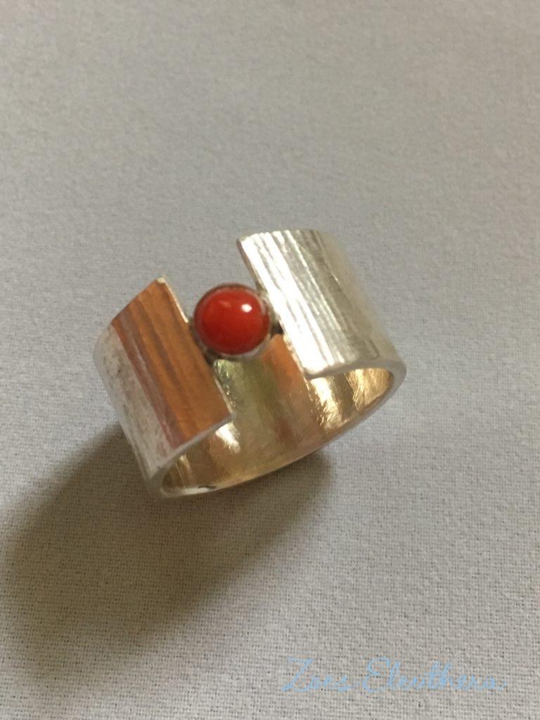 Ring Silber Koralle Struktur offen RingnoRing RnR