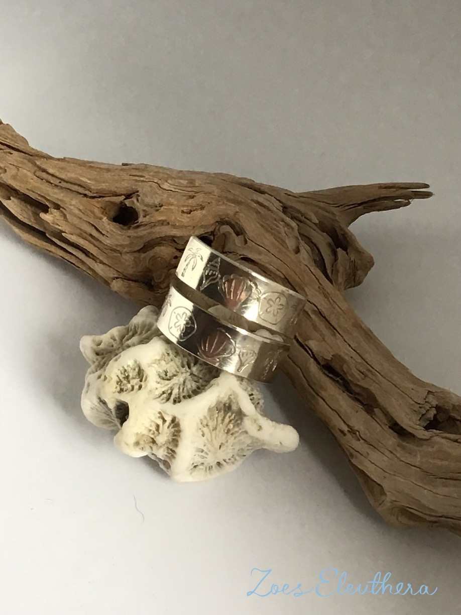 ring silver summer sea palms shells holiday open RingnoRing RnR