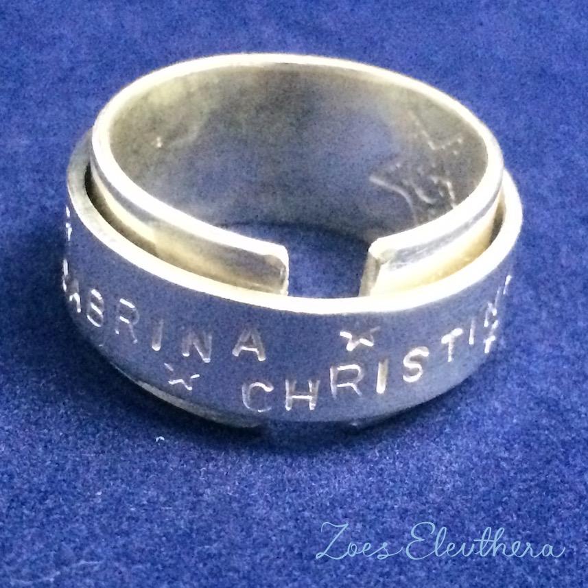 Ring Silber Name Datum Text Motiv doppelt offen RingnoRing RnR