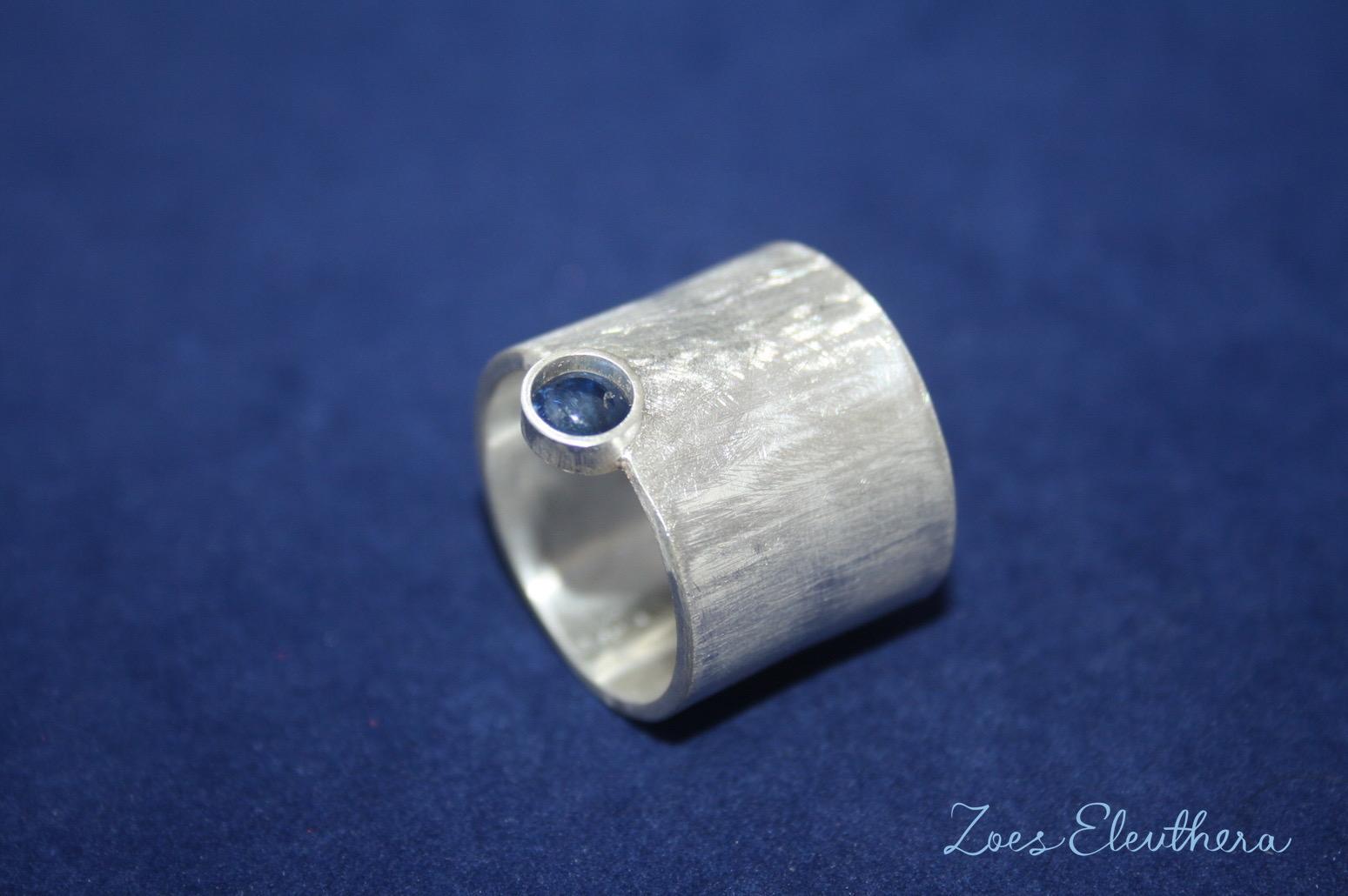 Ring Silber Saphir breit matt