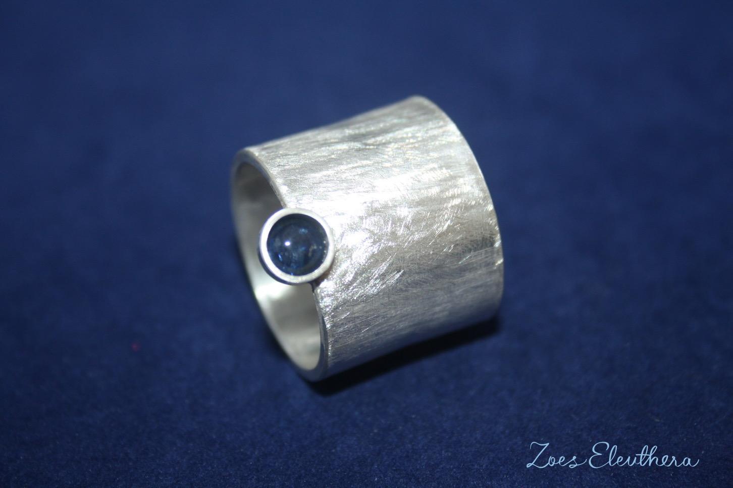Ring Silber Saphir breit matt Damen
