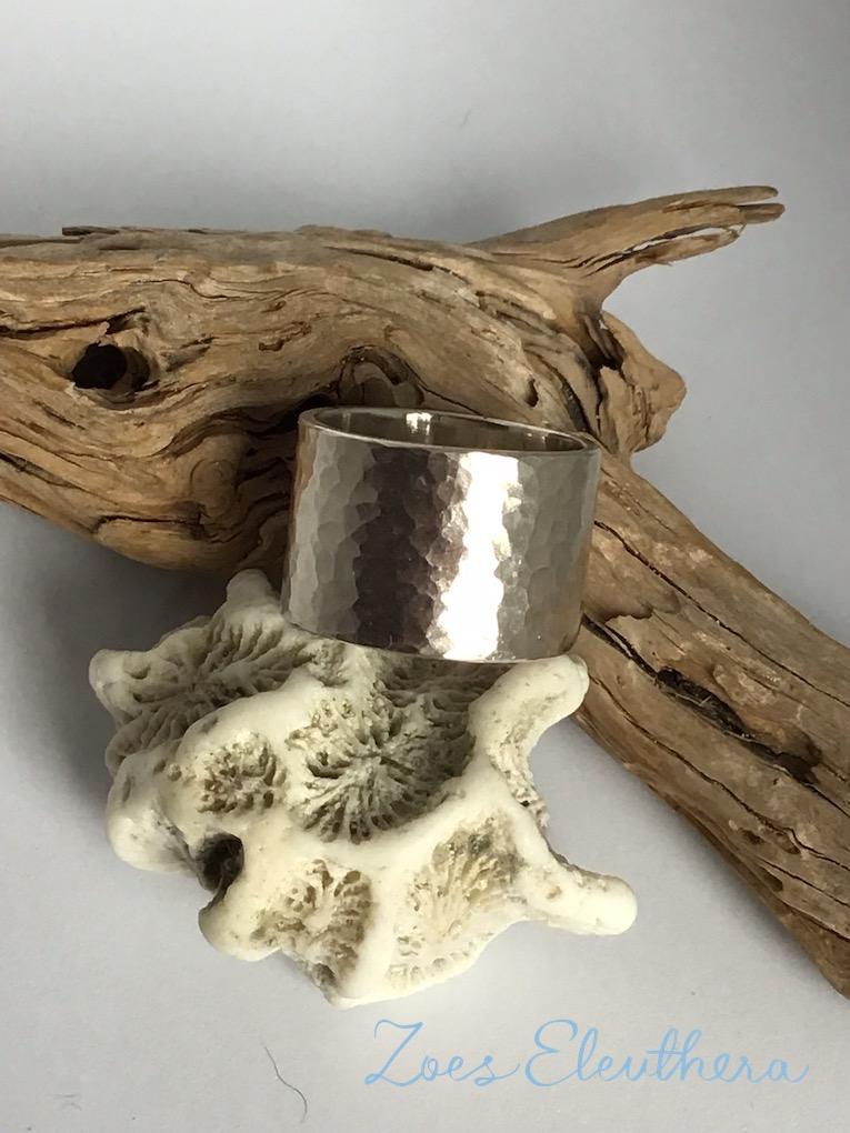 Ring Silver Structure wide Hammer blow wide
