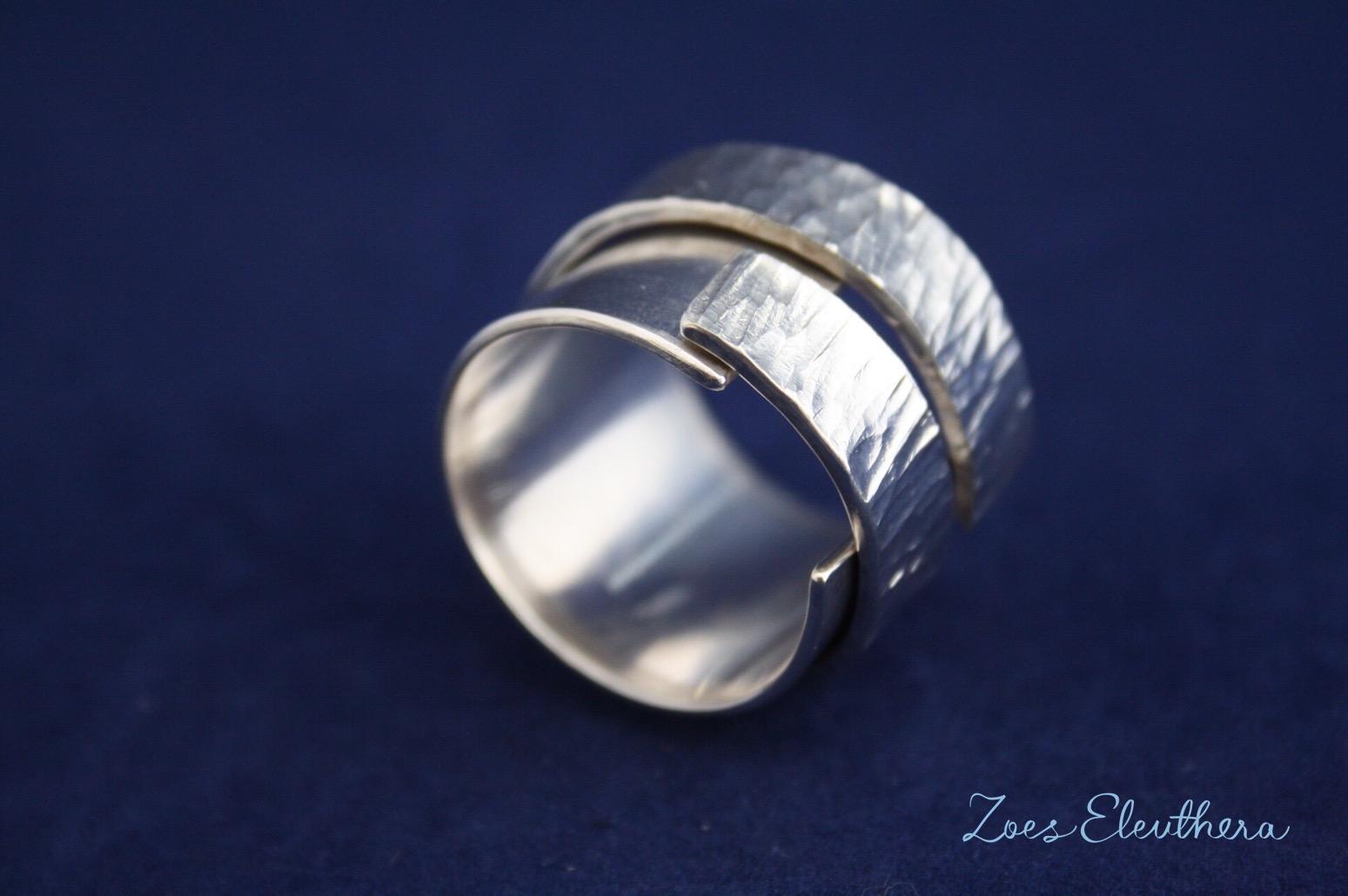 Ring Silber Struktur doppelt offen RingnoRing RnR breit