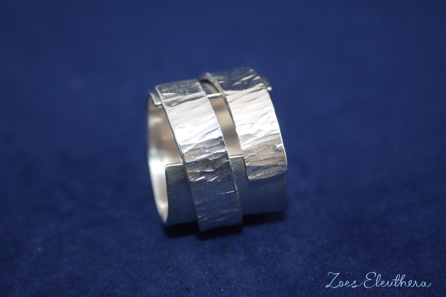 Ring Silber Struktur doppelt offen RingnoRing RnR