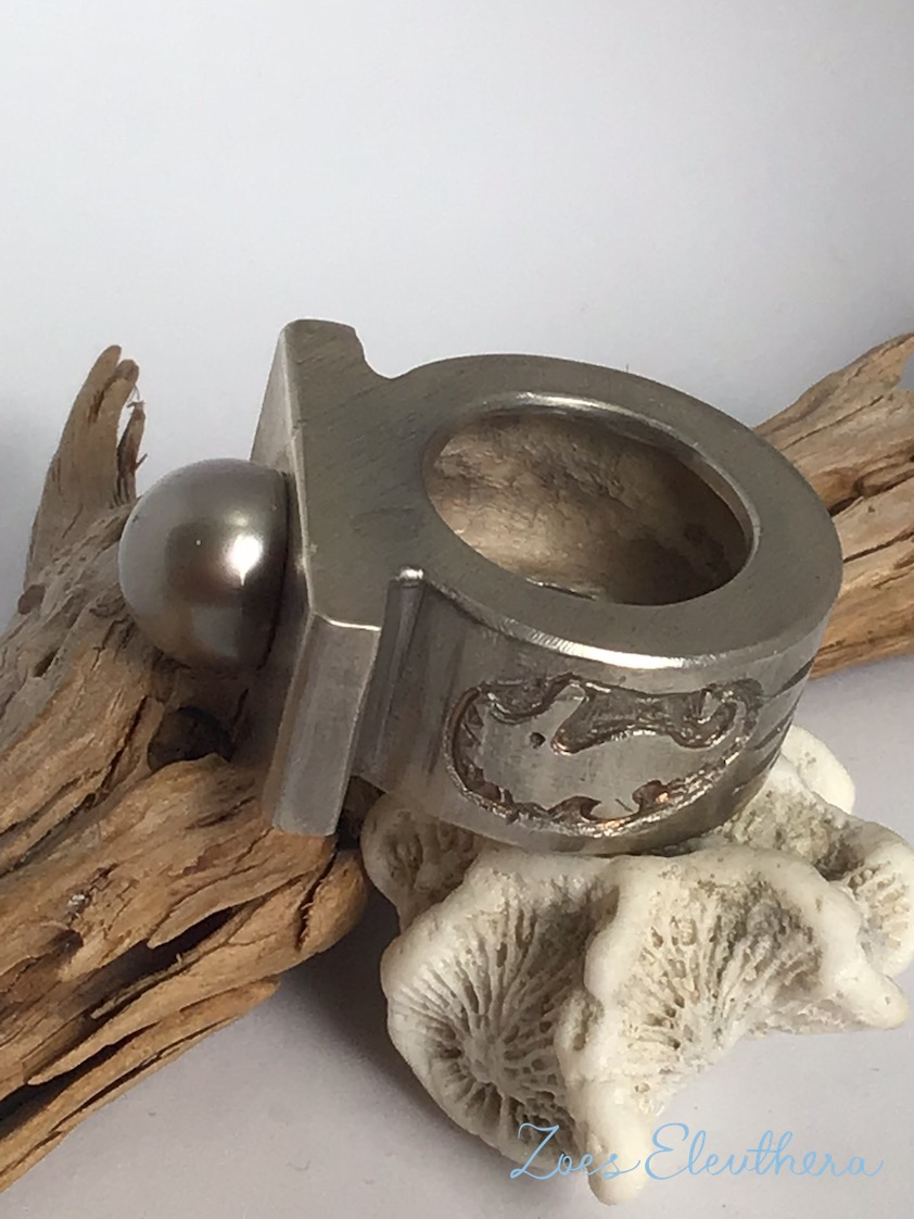 Ring Silber Perle Seepferdchen Struktur massiv Gussring