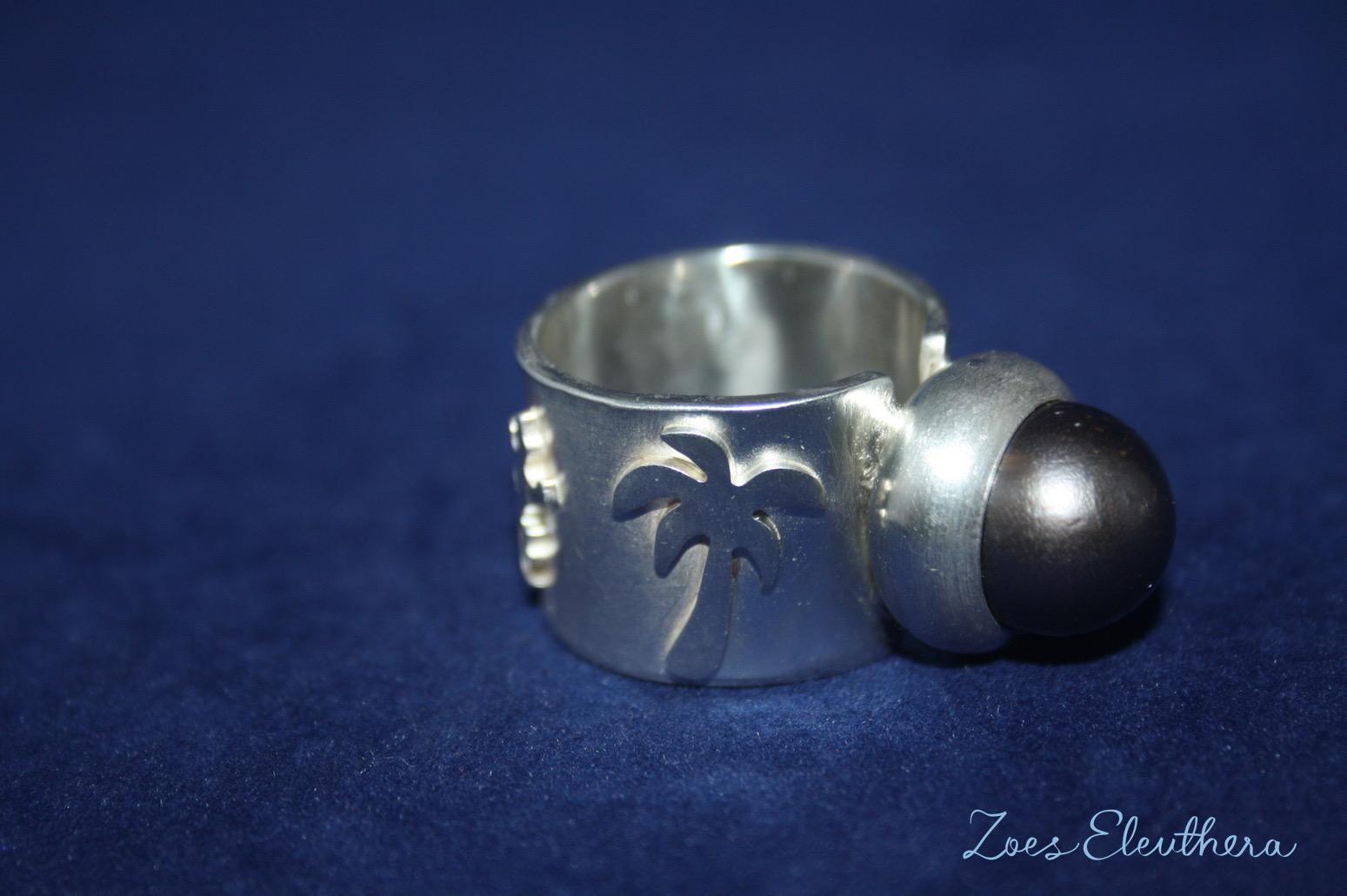 Ring Silber Tahiti Perle Palme dunkel Hai Seepferdchen Delphin RingnoRing RnR Struktur matt