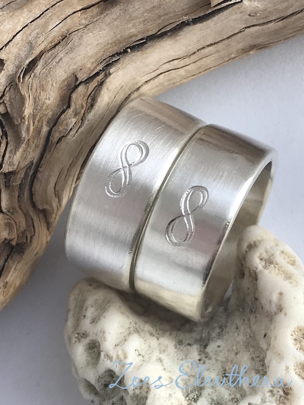 Ring Silber Partner Unendlichkeit Text Motiv Partner Ehe Freundschaft individuell