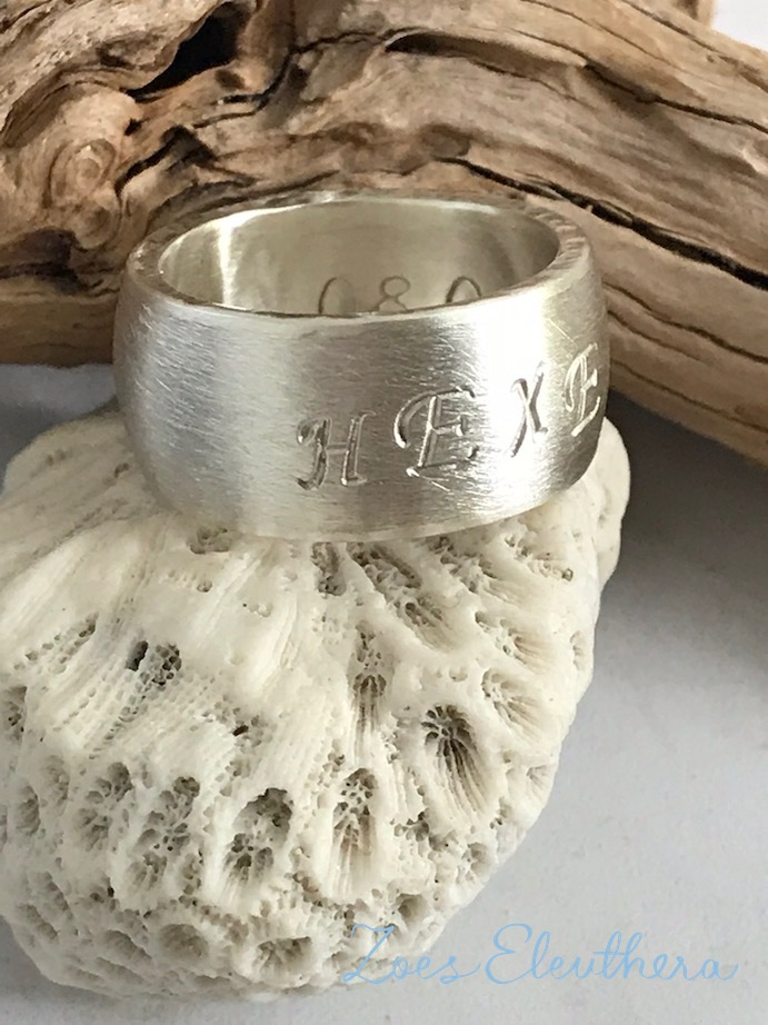 Ring Silver Name Text Motif wide matt individual.