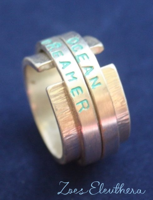 Ring Silber Ocean Meer Text Motiv doppelt offen RingnoRing RnR breit
