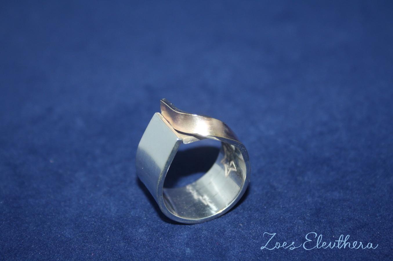 Ring Silber Welle Gold Gelbgold RingnoRing RnR Struktur matt breit