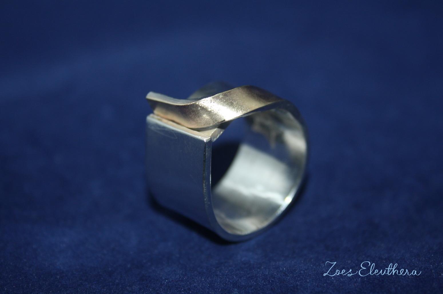 Ring Silber Welle Gold Gelbgold RingnoRing RnR Struktur matt