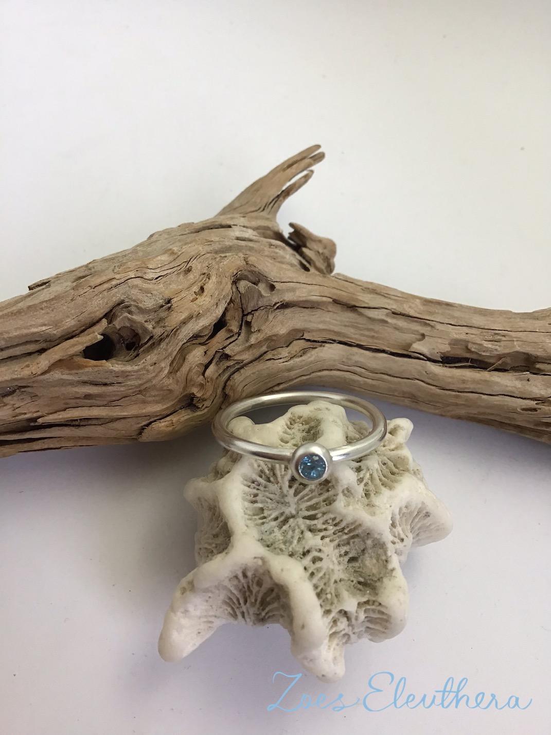 Ring Silver Topaz delicate