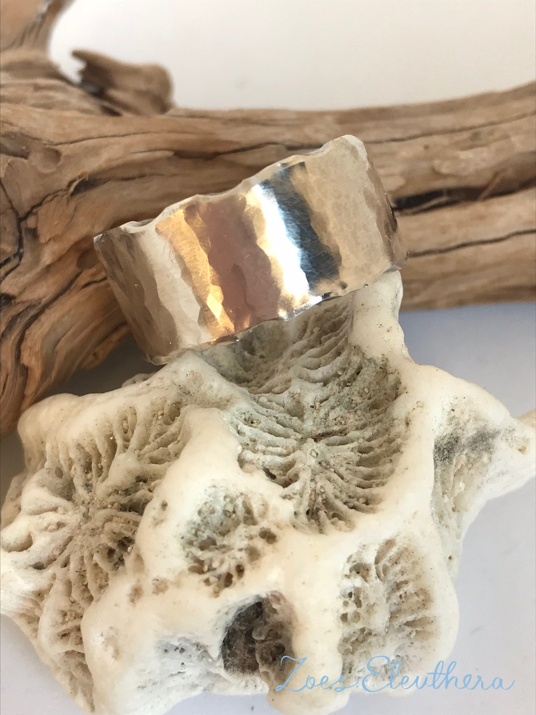 ring silver wave hammered rough
