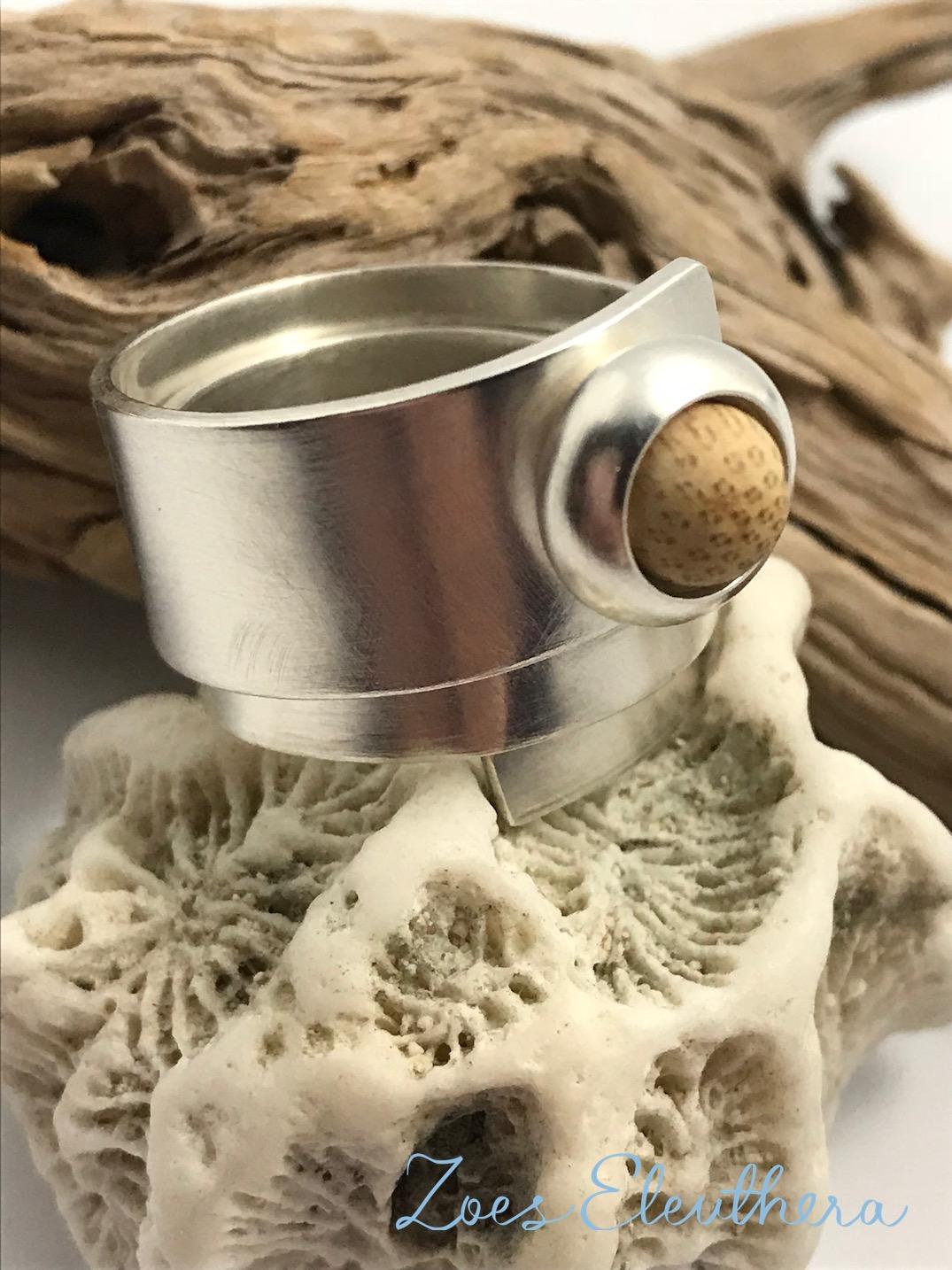 Ring Silver Wrap Ring Bamboo Bead