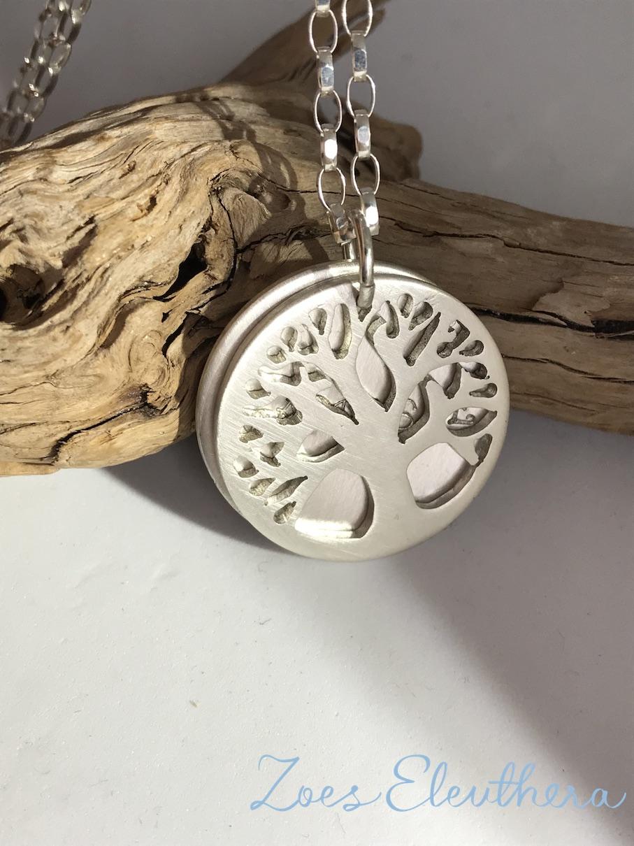 Pendant Silver Namaste Tree of Life double