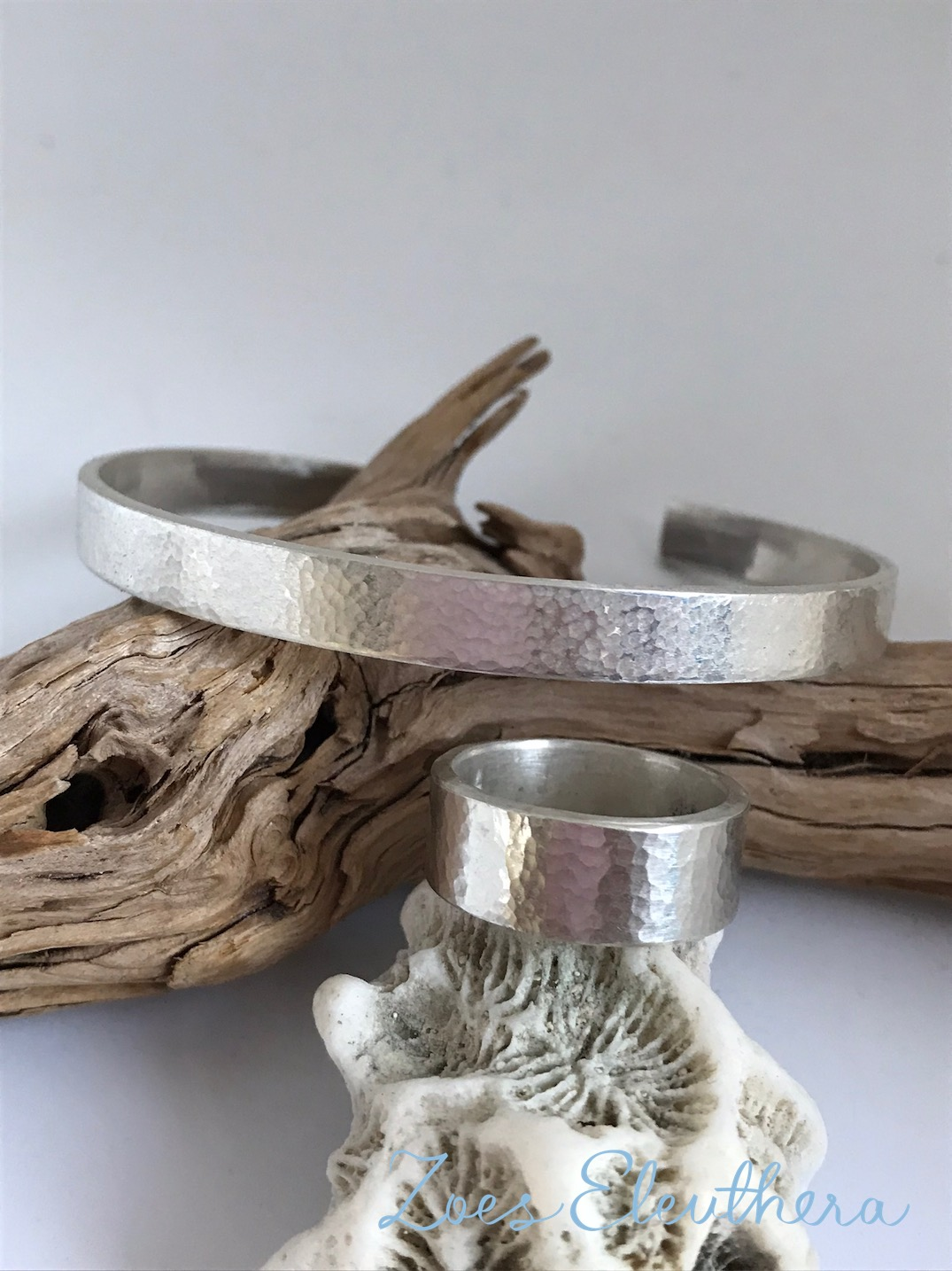 Bangle Ring Silver Set Hammer Finish wide