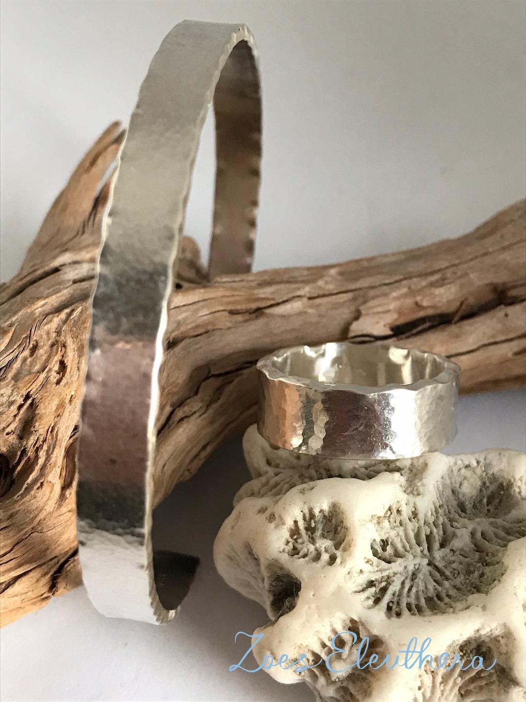 Armreif Ring Silber Set Welle Hammerschlag individuell