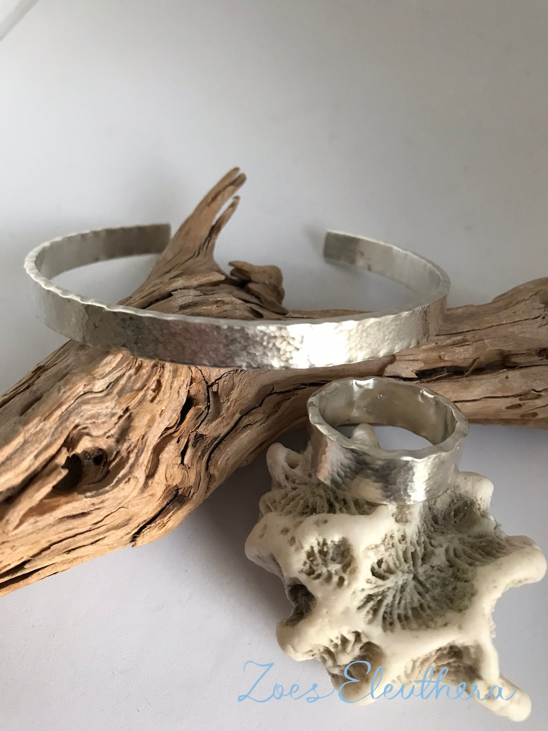 Armreif Ring Silber Set Welle Hammerschlag rau