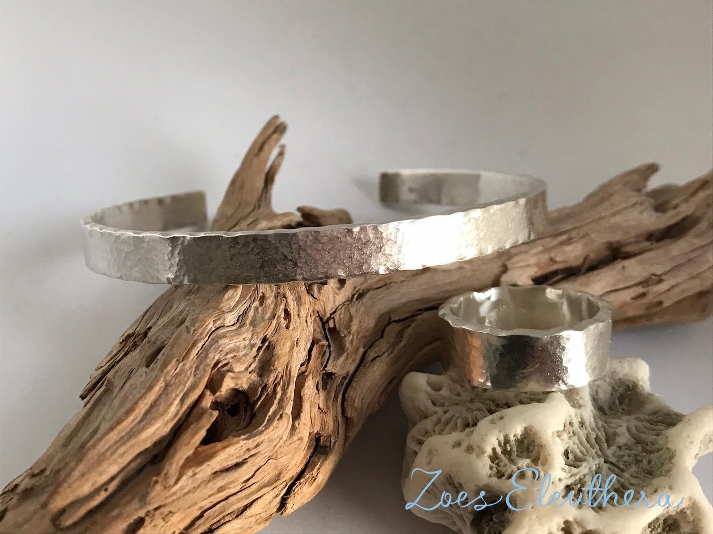Armreif Ring Silber Set Welle Hammerschlag