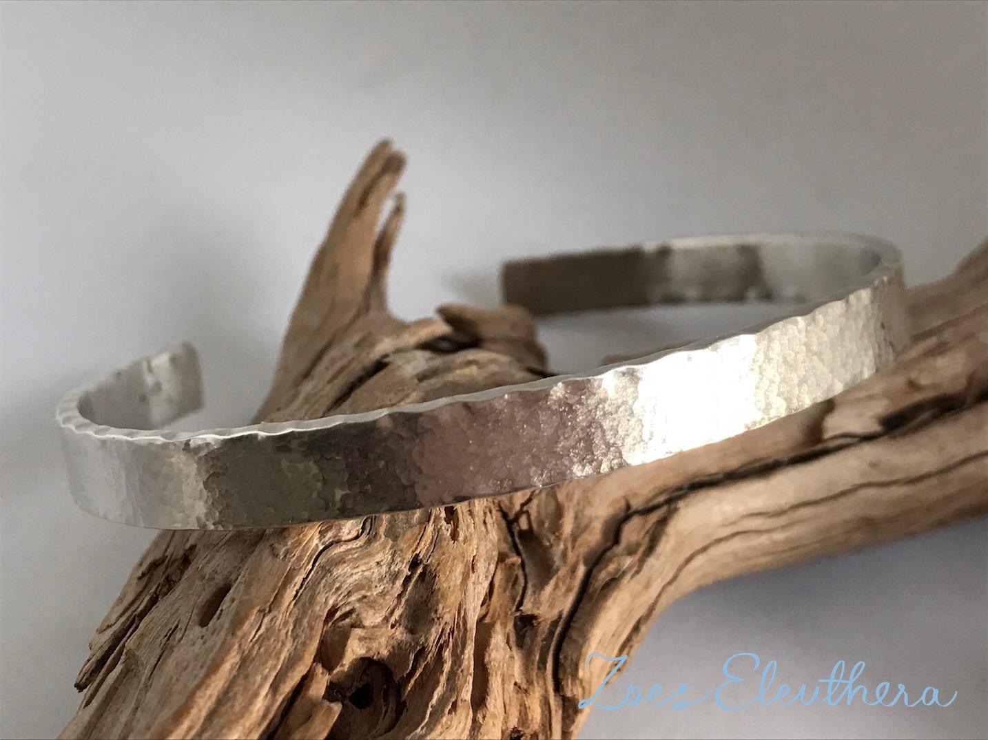 Armreif Silber Hammerschlag Welle