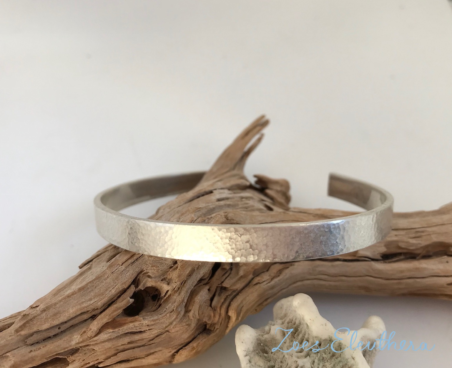 bangle silver hammer finish delicate