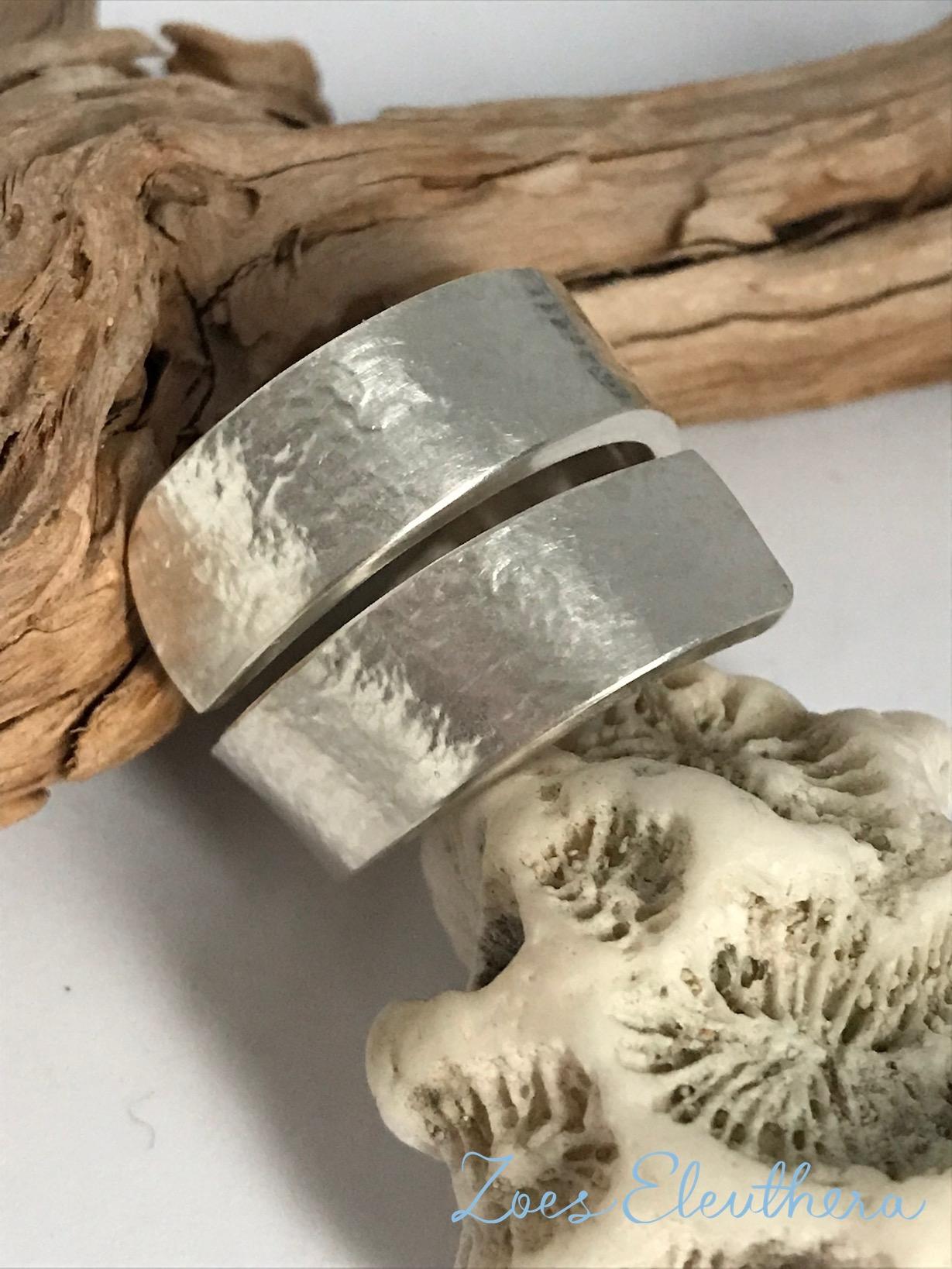 Ring Silber Welle Struktur breit