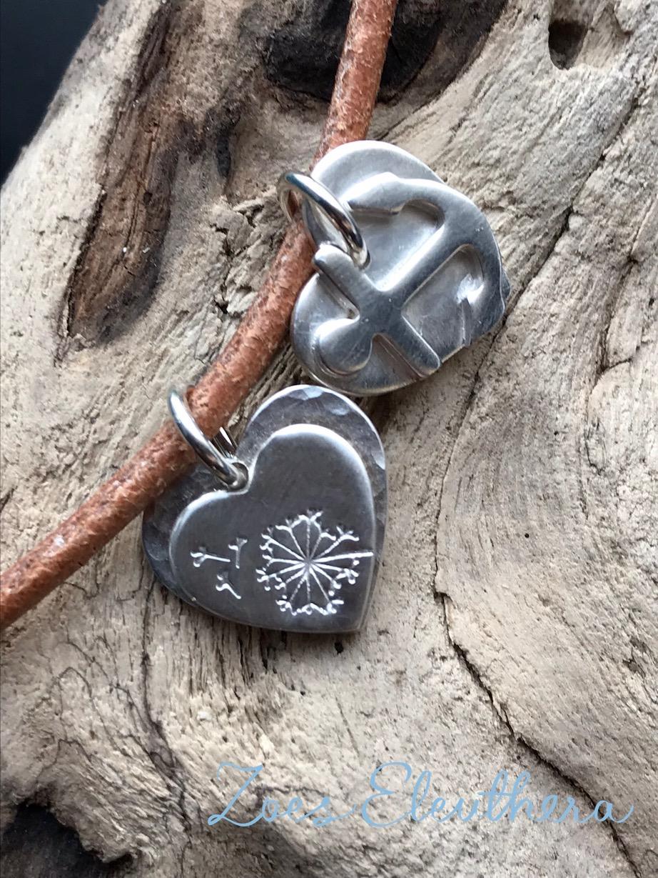 Anhänger Silber Herz Anker Motiv nach Wunsch