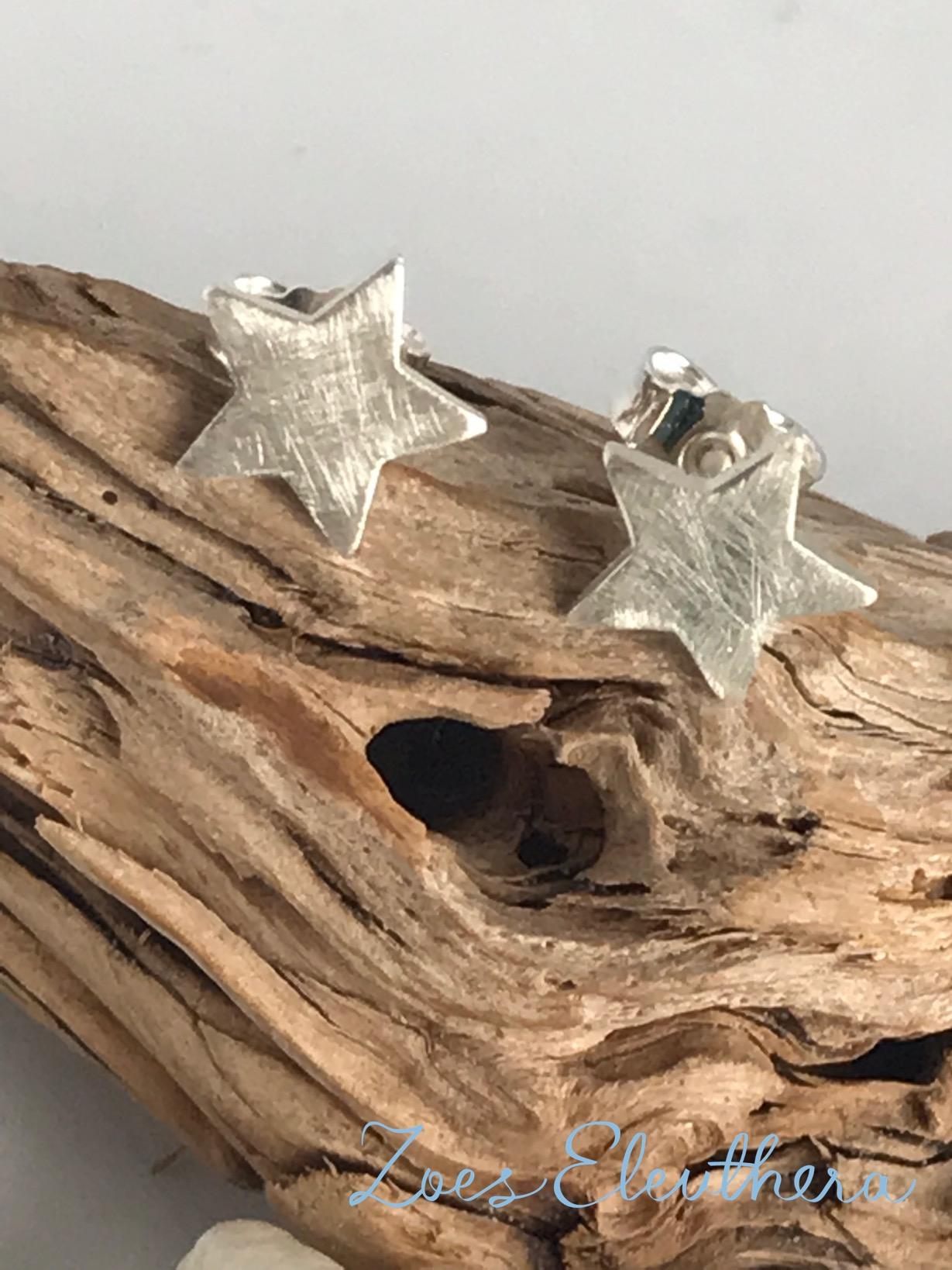 Earrings Silver Star Ice Matt Delicate