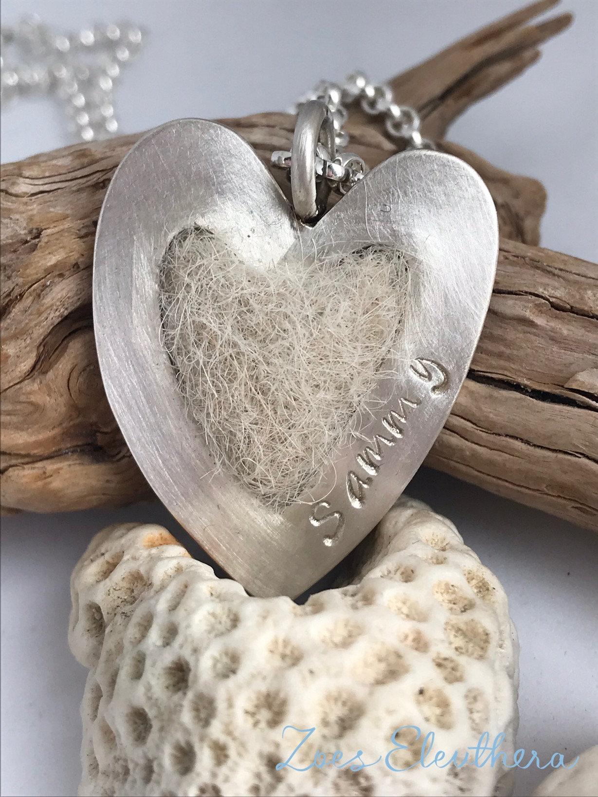 Pendant silver dog hair felted heart silver
