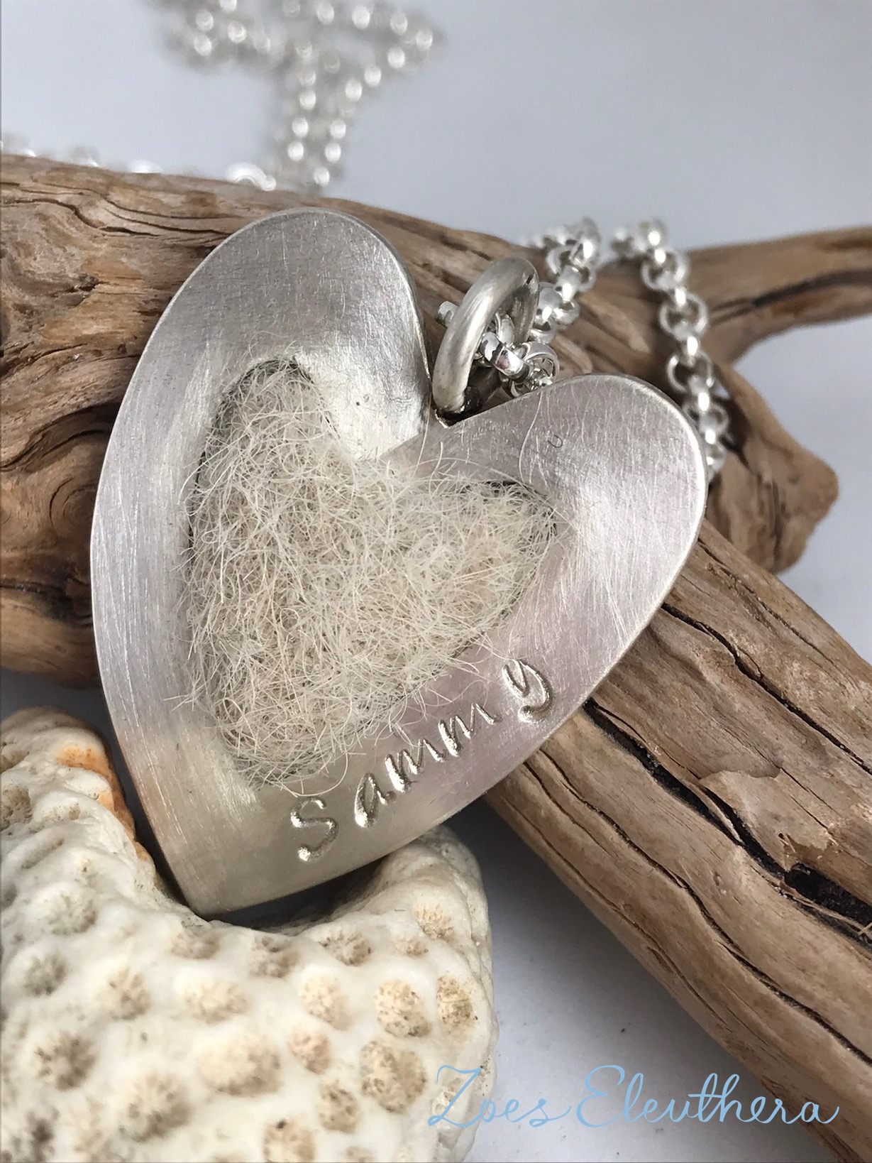 Pendant silver dog hair felted heart small