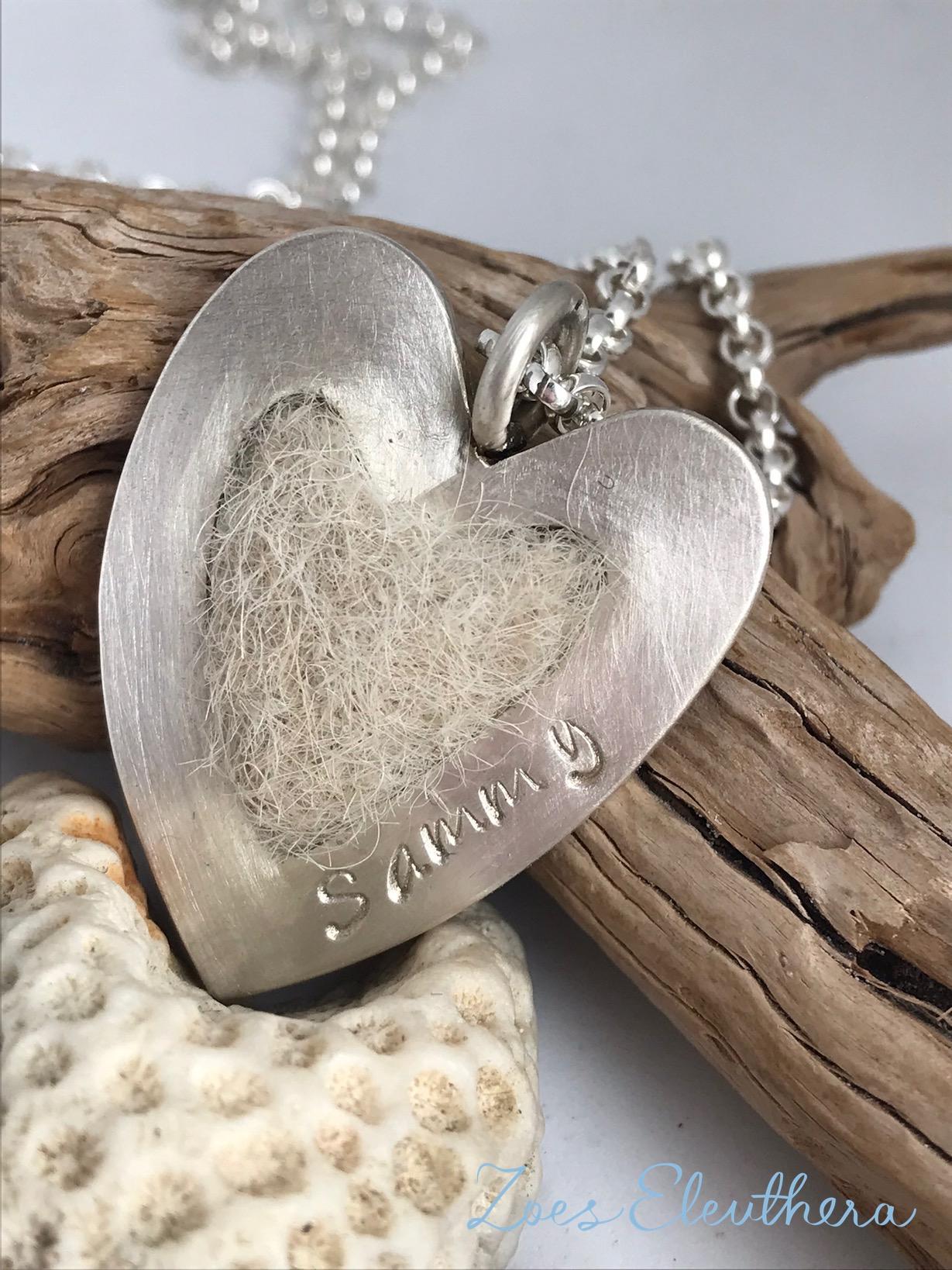Anhänger Silber Hundehaar gefilzt Herz klein