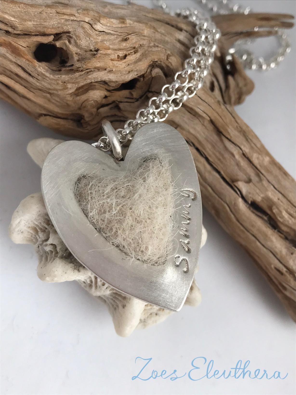 Pendant silver felted dog hair heart single