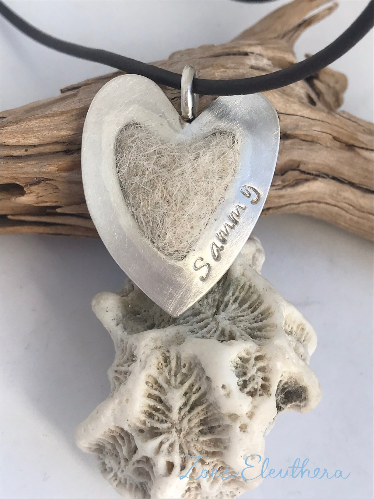 Pendant silver felted dog hair small