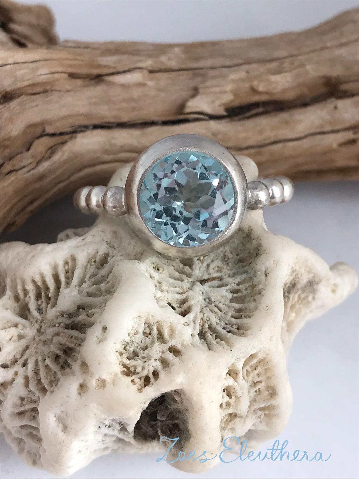 Ring Silber Perlen Topas zart