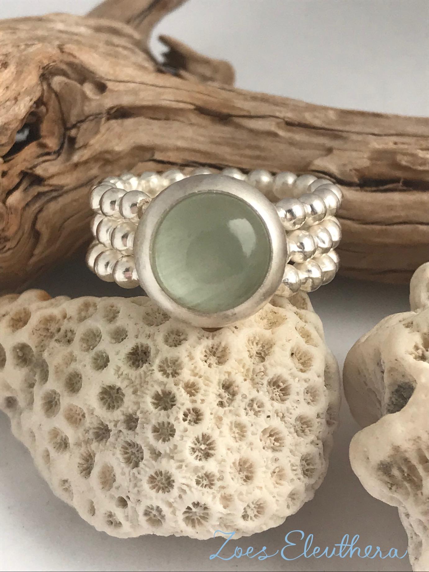 Ring Silber Perlen Aquamarin