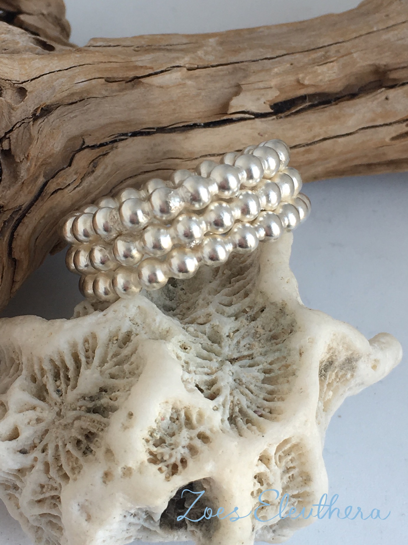 Ring Silver Pearls broad massive