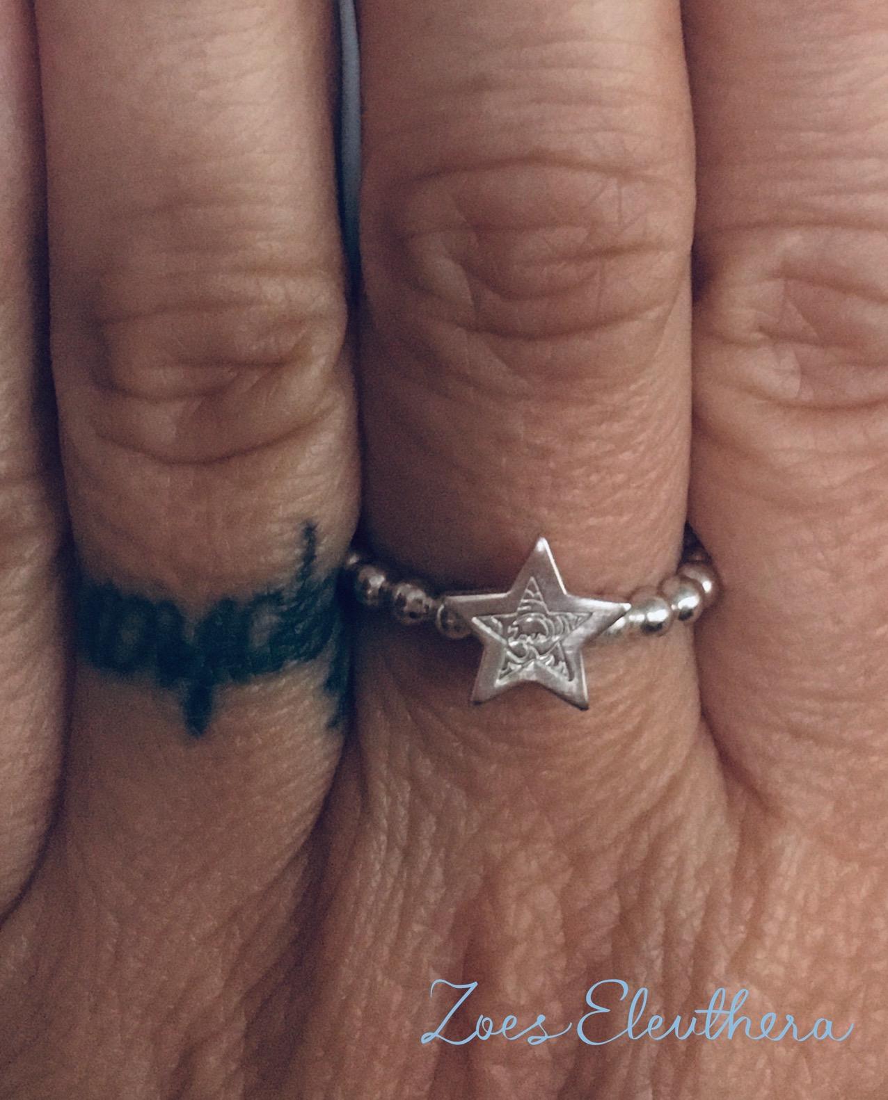 Silber Ring Perlen zart Stern schmal