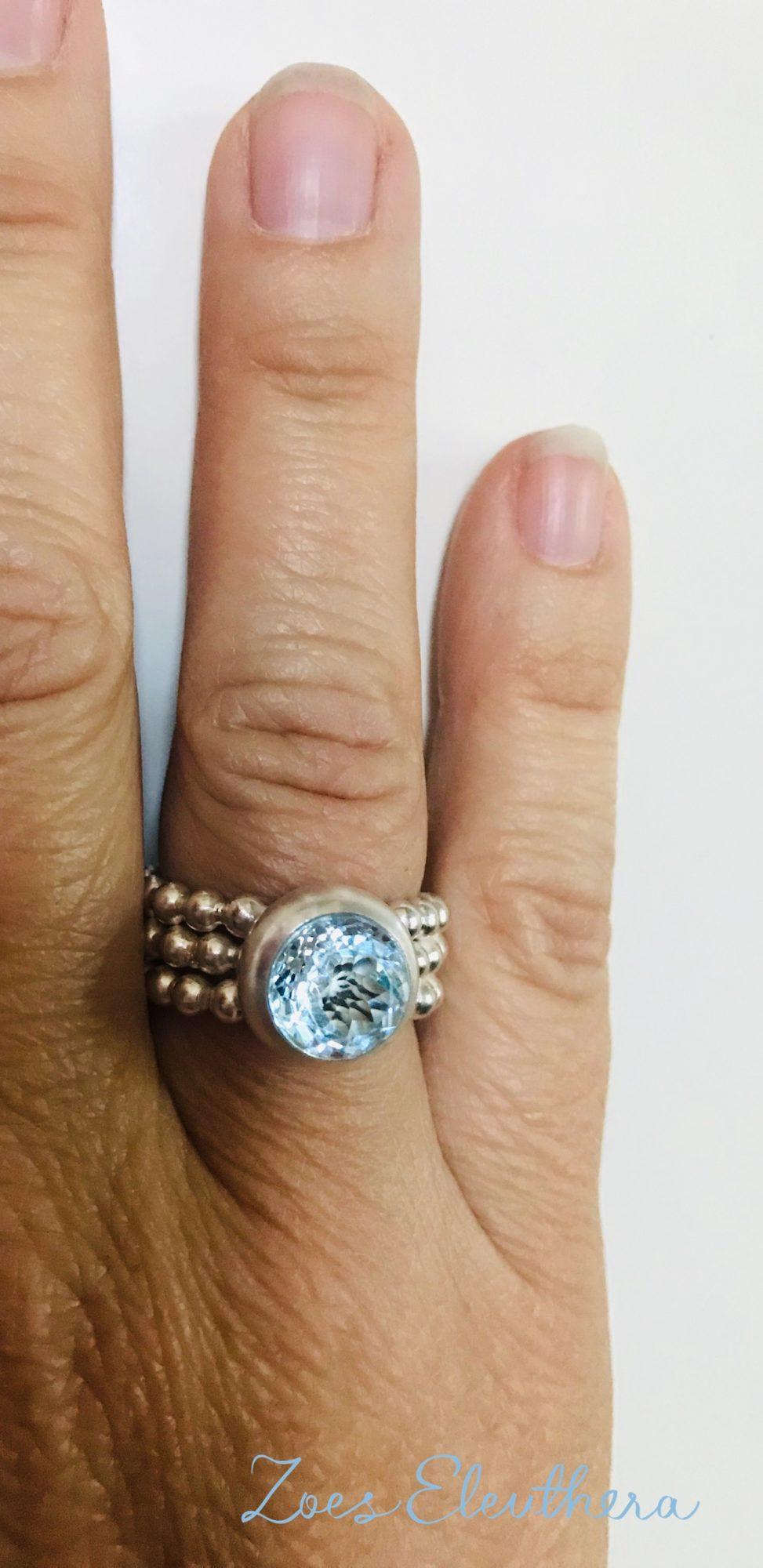 Ring Silber Perlen Topas an Hand