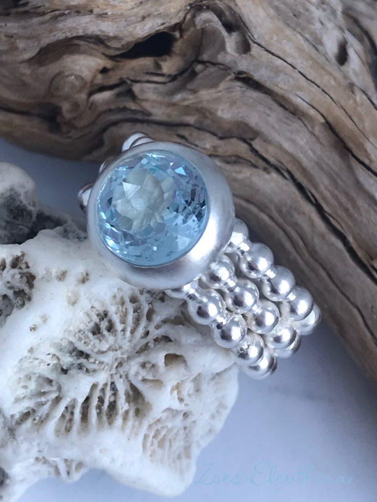 Ring Silber Perlen Topas breit