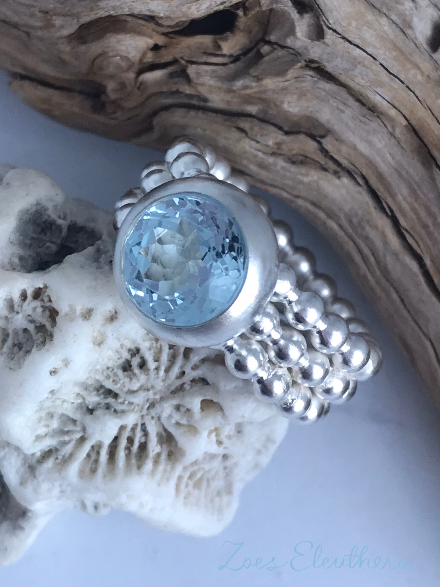 Ring Silber Perlen Topas