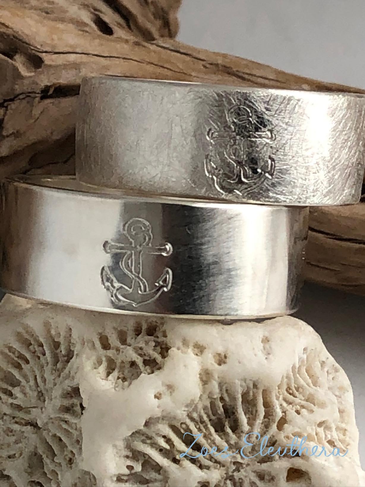 Ring Silber Anker Paar Struktur