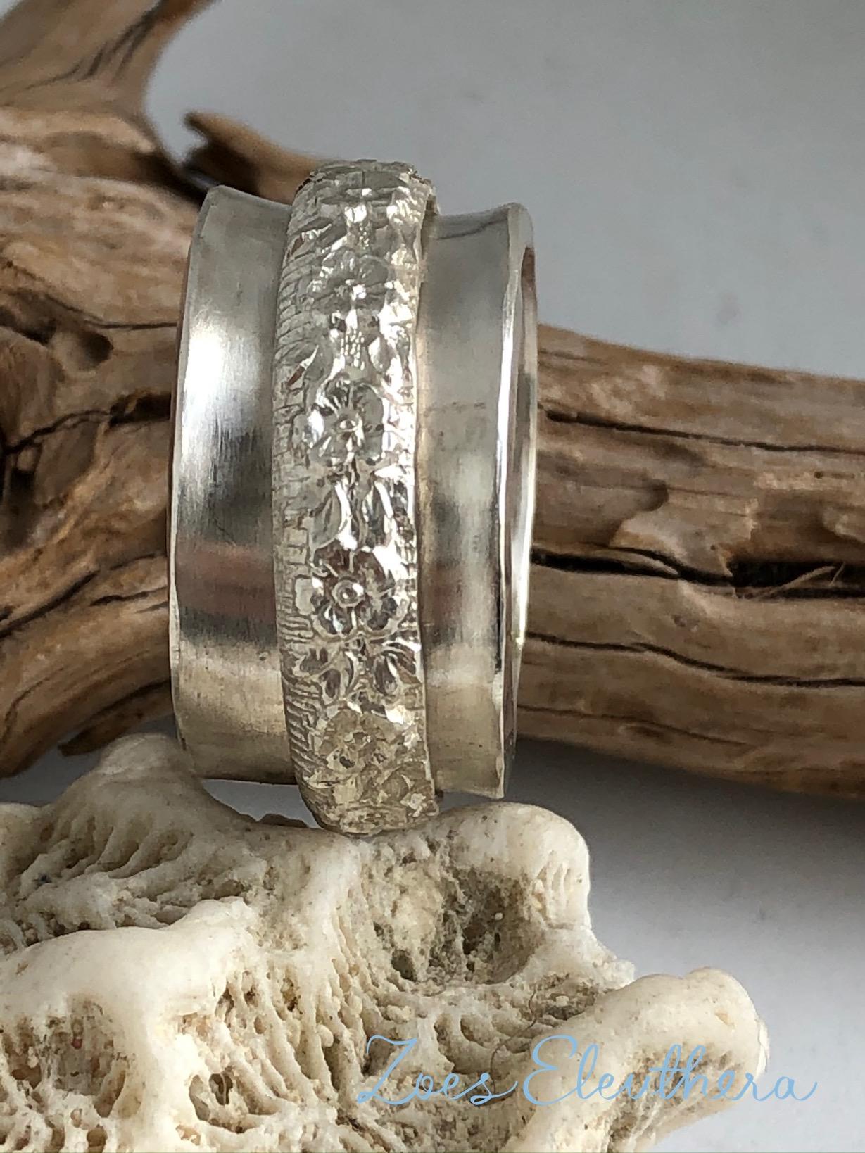Ring Silber Drehring Blumen breit
