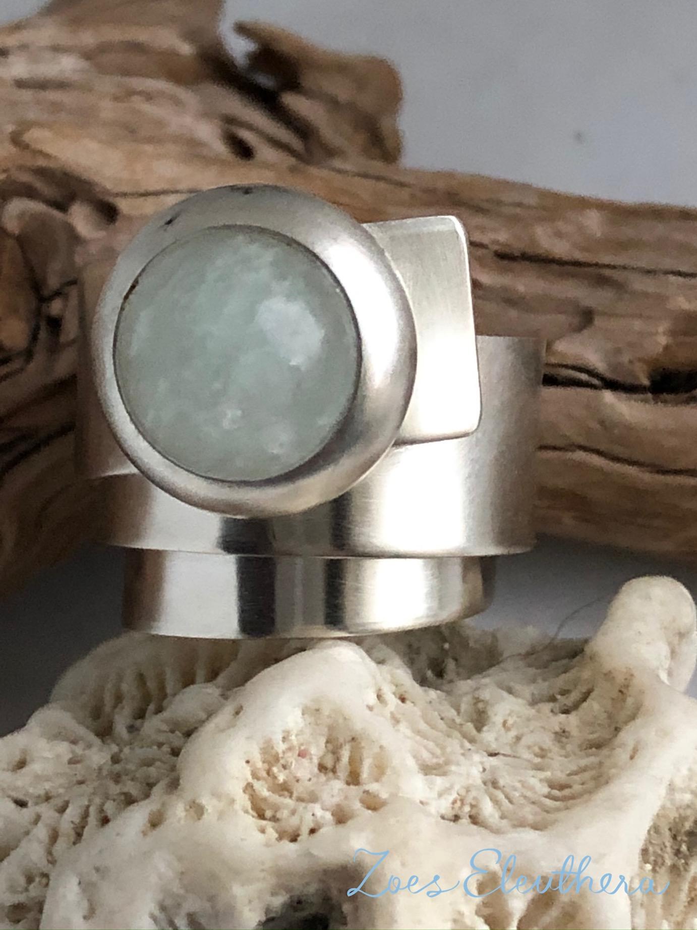 Ring Silber Wickelring Aquamarin breit