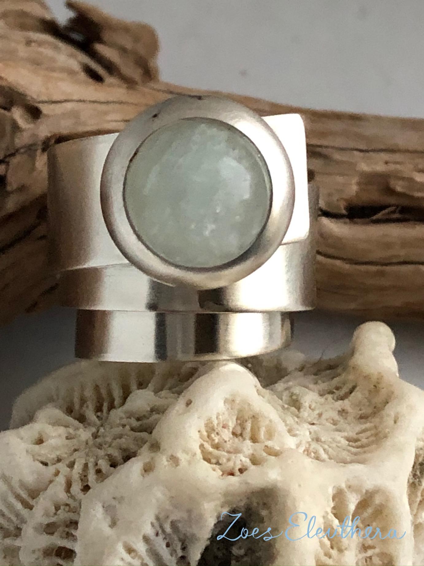Ring Silber Wickelring Aquamarin